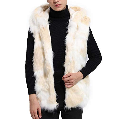 Vest Jacket for Men Winter Warm Thick Vest Coat Jacket Faux Fur Parka Outwear Cardigan Beige