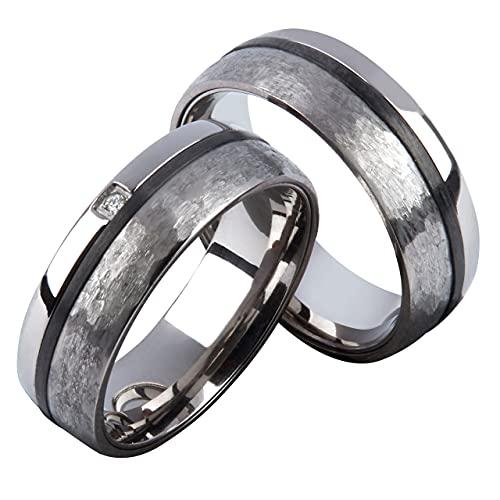 Eheringe / Trauringe / Verlobungsringe / Partnerringe aus Titan Carbon mit DIAMANT (Gravur/Etui/Garantie)