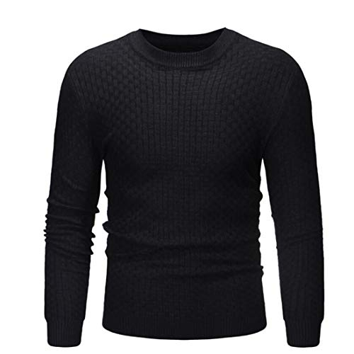 Men Sweater Men Sweater Round Neck Long Sleeve Slim Solid Color Men Knitted Sweater Autumn and Winter New Comfortable Casual Warm Fine Knitting All Match Men Tops D-Black. M