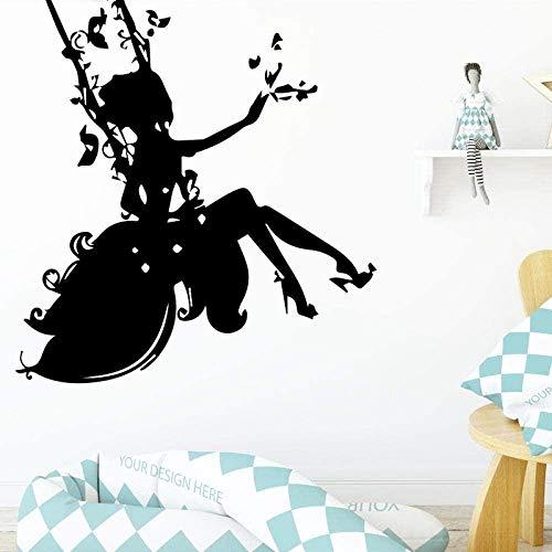 Pegatinas De Pared Pegatinas Y Murales De Arte Cuento De Hadas Columpio Flor Árbol Dormitorio Sala De Estar Habitación De Niña Como Regalo Para Niños Arte Impermeable 43X45Cm