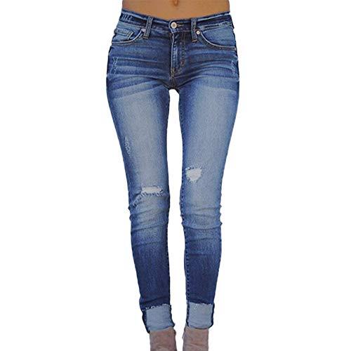 RISTHY Pantalones Vaqueros Mujer Slim Fit, Flaco Pantalones Largos Lápiz Vaqueros Rotos Elásticos Stretch Jeans Pantalones Vaqueros Mujer de Vestir Invierno