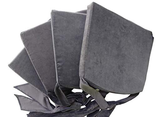 Set mit 4er StuhlKissen mit einem Bogen Kordel Kissen für Rattan Stühle & mehr Stuhlauflage Velour - Samtsitz 43 x 40 x 5 cm Sitzkissen 4er-Pack (Graphit)