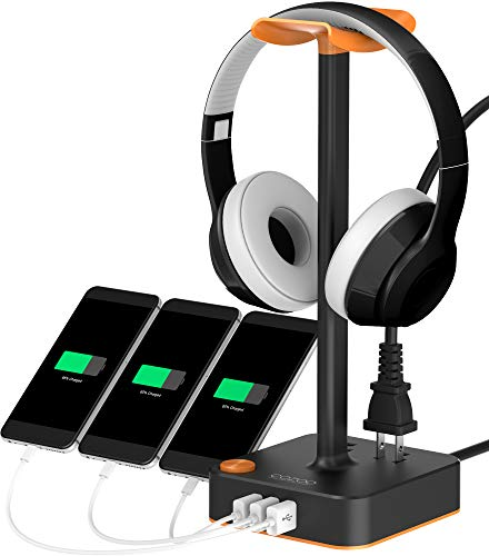 Headphone Stand with USB Charger COZOO Desktop Gaming Headset Holder Hanger with 3 USB Charger and 2 Outlets - Suitable for Gaming, DJ, Wireless Earphone Display (Orange)