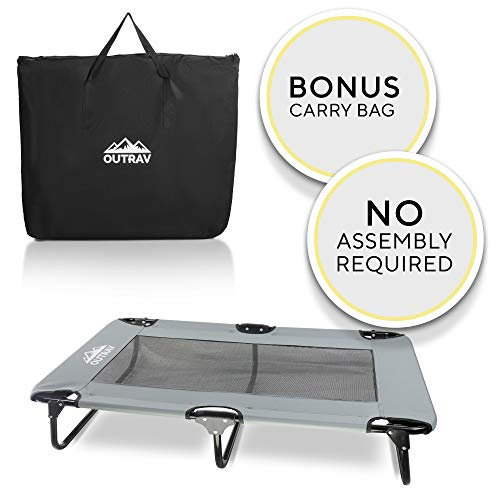"""Outrav Elevated Dog Cot with Steel Frame - Foldable Raised Play and Rest Bed for Dogs and Cats - Heavy Duty Strong Material - Pet Cot with Bonus Storage Bag (Large 42"""" x 24"""" x 8"""", Grey)"""