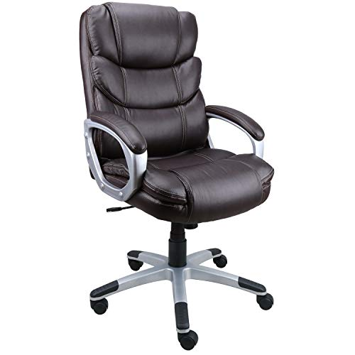 Becozier Executive Office Chair with Brown Leather, Swivel Desk Chair for Home and Office, Ergonomic Computer Chair with Adjustable seat