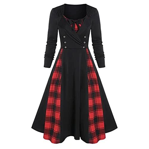 Baiomawzh Damen Übergroßes Gothic Kleid Festlich A-Linie Kleid Steampunk Mittelalter Kleid Langarm Elegant Spitzen Kleider Karneval Weihnachten Kostüm Maxikleid