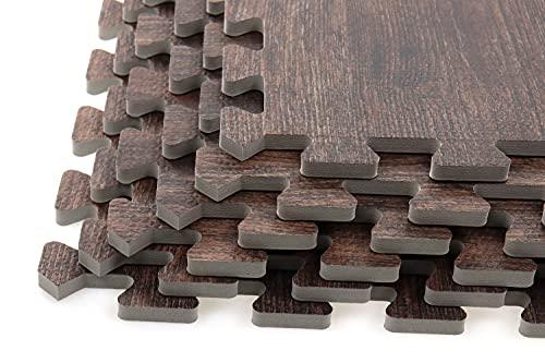 Creation Gross 6 Stück Bodenschutzmatte Holzoptik nussbaum inkl. 12 Randstücke, Eva Schaumstoff, Gesamtfläche: ca.124cm x 186cm / 2,3m²