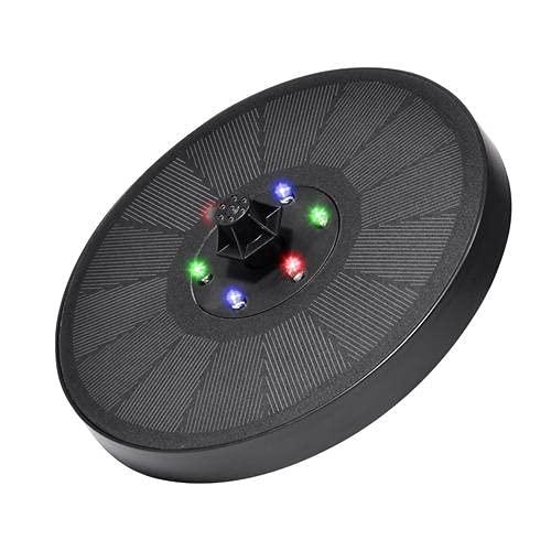 Bomba de fuente solar con luz LED, bomba de fuente de baño de pájaros solar mejorada de 3 W con 7 boquillas, bomba de fuente de agua con energía solar para baño de pájaros, jardín, estanque, e