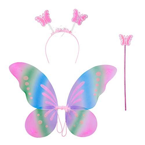 Relaxdays- Feenflügel Varita mágica y Diadema, Disfraz de Hada para niños, alas de Mariposa...