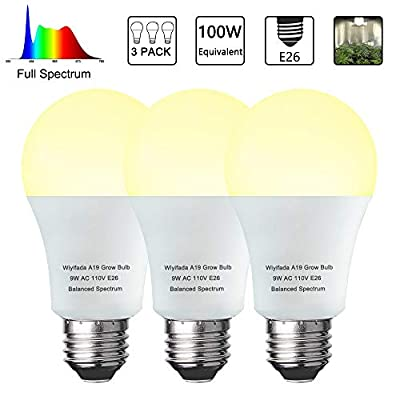 3 Pack A19 Full Spectrum LED Plant Light Bulb Indoor Grow Light Bulb, E26 110V 9W Grow Bulb Replace up to 100W, Plant Bulb for Indoor Plants, Flowers, Greenhouse, Indore Garden, Hydroponic
