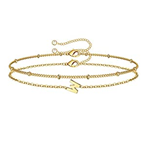 Gold Heart Initial Bracelets for Women, 14K Gold Plated Dainty Personalized Hammered Heart Initial Bracelets for Women Teen Girls Jewelry Chain Bracelets for Kids Toddler Little Girls Jewelry Gifts