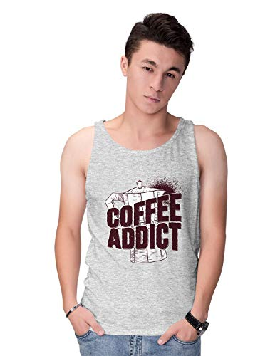 BLAK TEE Herren Coffee Addict with Kettle Illustration Tank Top S