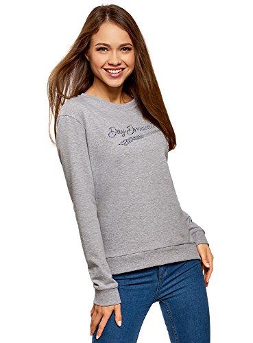 oodji Ultra Damen Baumwoll-Sweatshirt mit Strass-Steinen, Grau, DE 36 / EU 38 / S