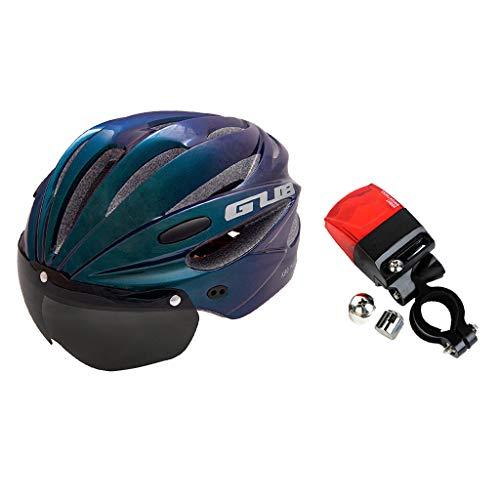 Generic Casco de Ciclismo con Visera Casco de Bicicleta Transpirable Ajustable Crash Hat con Protección UV Gafas de Ciclismo para Mujeres Hombres Y Luz Traser - Negro, Los 58-62CM