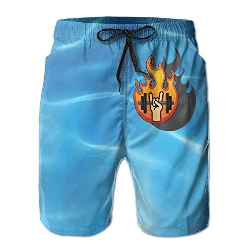 Badeshorts Für Männer,Musikgenre Heavy Metal Cooles Logo Badehose Beach Board Shorts Cool Print Herren Badehose,XXL