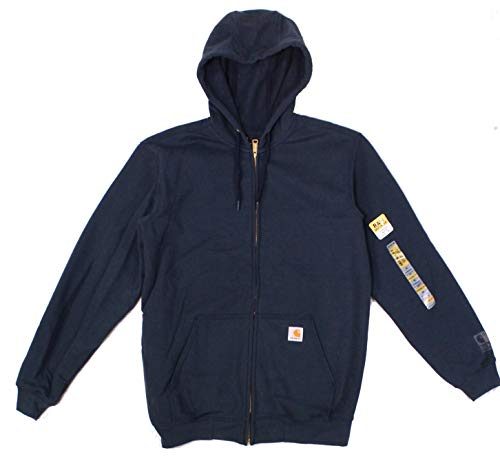 Carhartt Men's Rain Defender Rutland Thermal Lined Hooded Zip Front Sweatshirt 100632,New Navy,X-Large