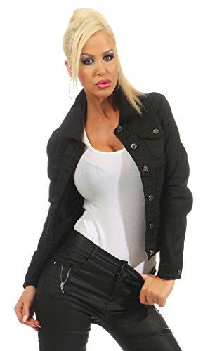 Fashion4Young 11287 Damen Jeansjacke Damenjacke Jeans Jacke Kurze Jacke Nieten schwarz (L=40, schwarz)