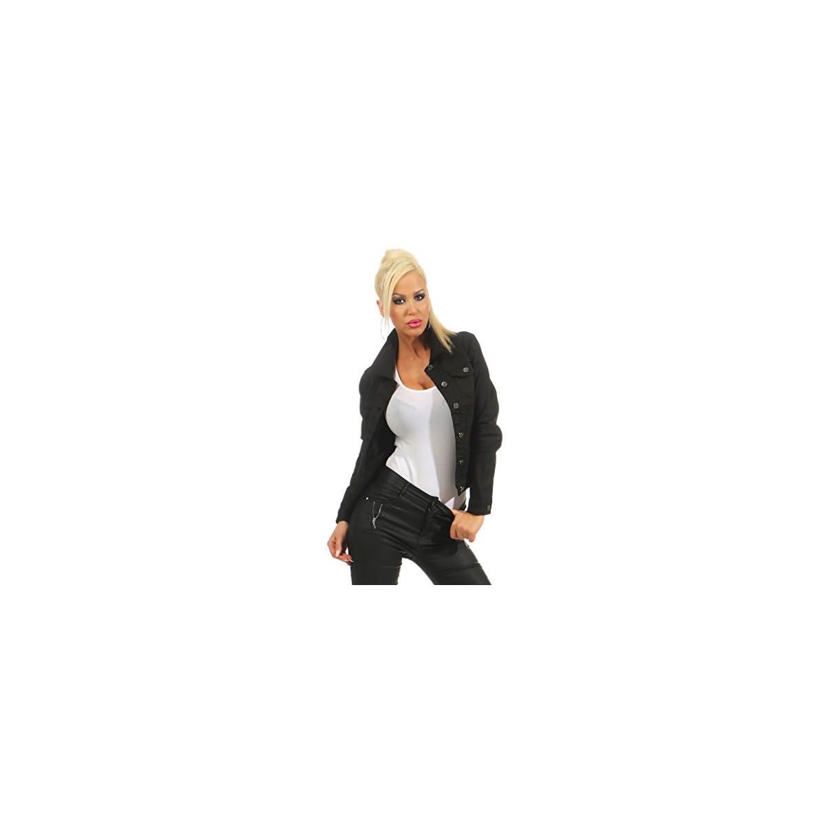 Fashion4Young 11287 Damen Jeansjacke Damenjacke Jeans Jacke schwarz