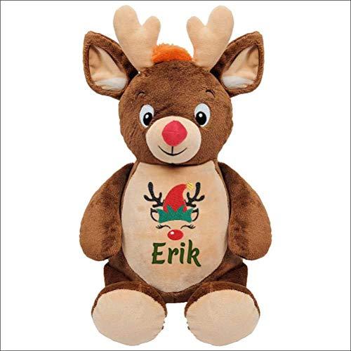 Peluche renne ours Père Noël personnaliser avec broderie, cadeau pour naissance, baptême, fêtes, Noël, brodé, personnalisé, doudou prénom