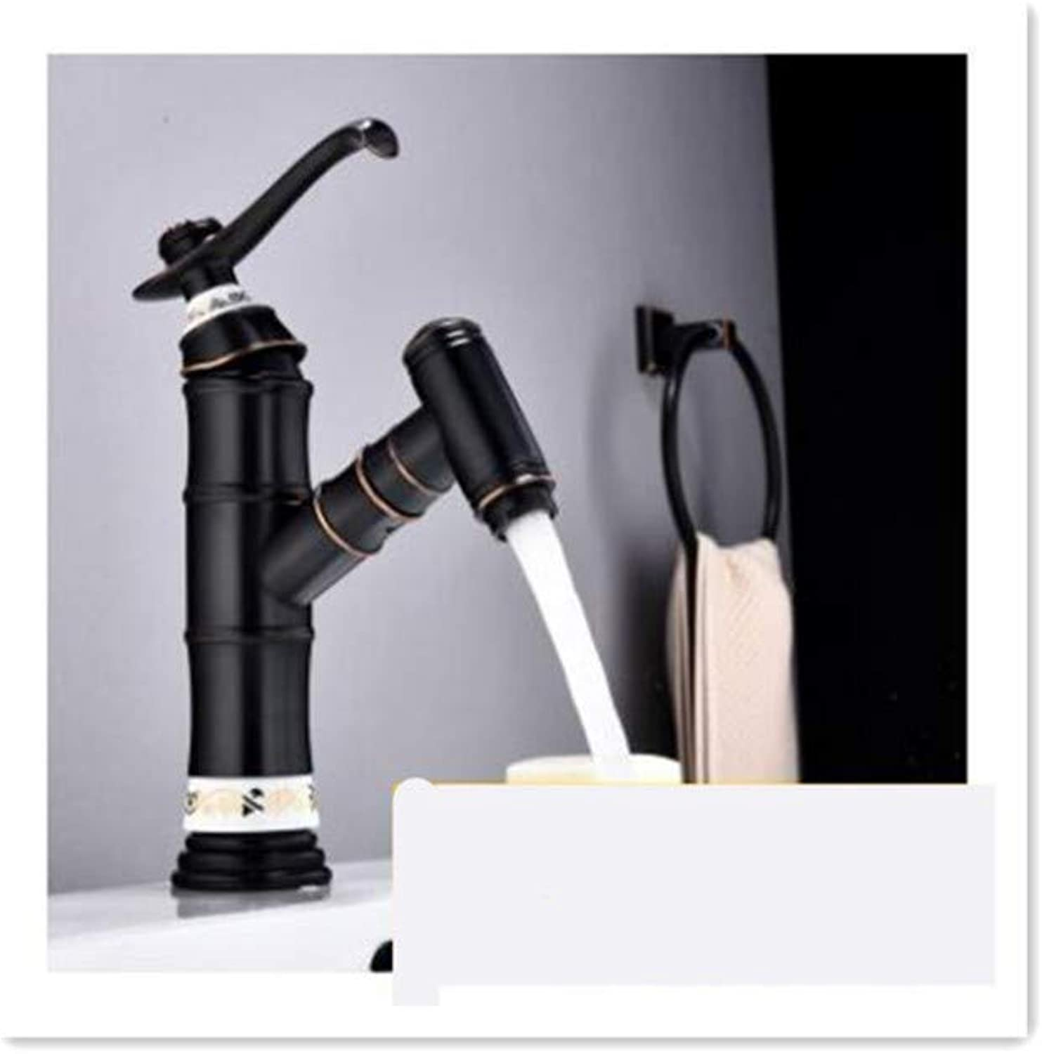 BBQBQQY Copper pull basin faucet black antique basin cold and hot water faucet sink can wash and retractable faucet,D