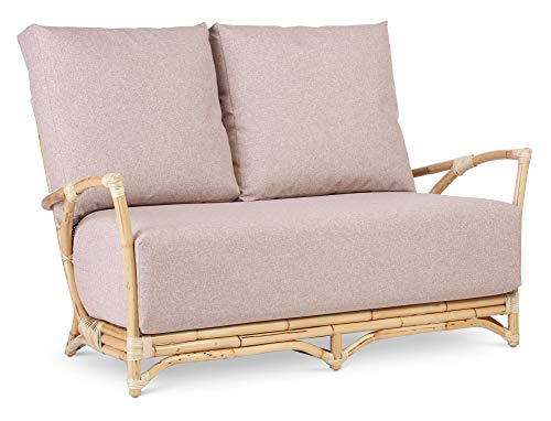Desser Mercer Cane 2 Seater Sofa – Fully Assembled Natural Rattan Indoor Living Room or Conservatory Sofa with UK Made Cushions in Smooth Blush Fabric - H94cm x W137cm x D72cm