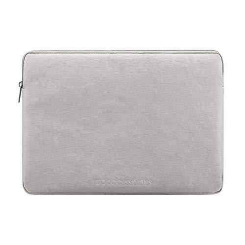 Woodcessories - Nachhaltige Laptoptasche kompatibel mit MacBook 11 - 13 Zoll Hülle Grau - aus Papier