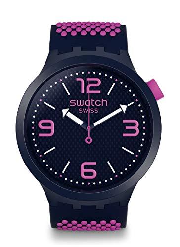 Swatch Big Bold Swiss Quartz Silicone Strap, Blue, 24 Casual Watch (Model: SO27N103)