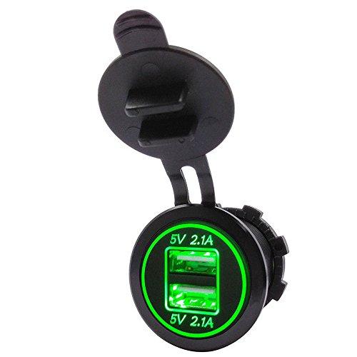 SODIAL 5V 4.2A Fiche d'adaptateur avec Double Chargeur USB Fiche de Courant pour la Moto de Voiture de 12V 24V (Vert)