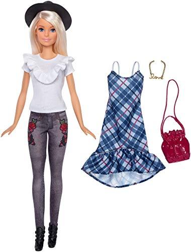 Mattel Barbie FJF68 Fashionistas Puppe und Mode Geschenkset mit schwarzem Hut und blauem Karo-Kleid