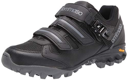 Tommaso Vertice 200 Men's All Mountain Vibram Sole Mountain Bike Shoes with Buckle - 45 Black