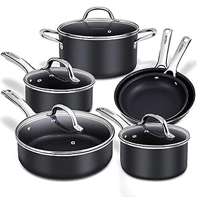 Nonstick Pots and Pans Set, Induction Cookware Sets 10 pieces, Chemical-Free Kitchen Cooking Set, Saucepan, Frying Pan, Skillet, Saute Pan, Stock Pot, Oven & Dishwasher Safe, Black-HITECLIFE