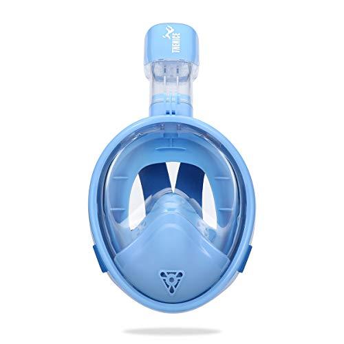 LJXWXN Kinder-Vollgesichts-Schnorchelmaske, Kinderschnorchelanzüge für Jungen und Mädchen, 180-Grad-Panorama-Anti-Fog- und Anti-Leckage-Schnorchelausrüstung, Kinderschwimmmasken,D