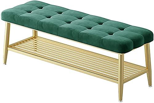 ZHANGCHI. Metallrahmen-Schuhhocker mit Lagerschuhbank mit verstellbaren Fußpads, für Wohnzimmer Flur Garderobe (Color : Green)