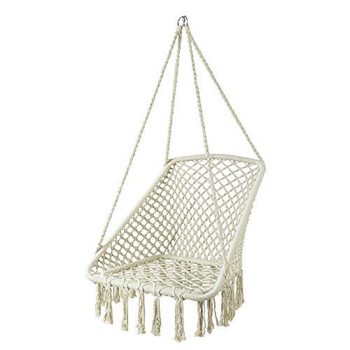 SoBuy OGS43-MI Hängesessel mit quadratischer Sitzfläche Hängestuhl Hängesitz Hängeschaukel Nestschaukel Belastbarkeit 150kg beige BHT ca: 72x130x72cm