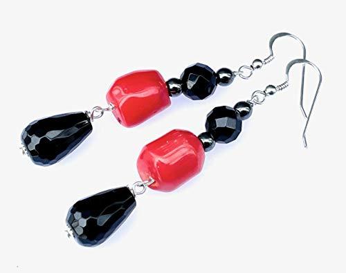 Pendientes de plata 925, onix negro y coral naranja, pendientes colgantes largos, joyas modernas, regalo para ella