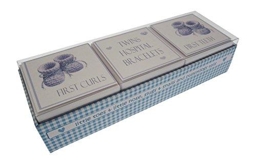 White Cotton Cards jumeaux première dent/Curl/bracelet 3 en 1 Boîte souvenir Ensemble de chaussons (Bleu)