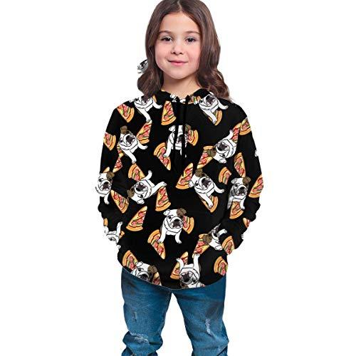 Nettes englisches Bulldoggen-Pizza-mit Kapuze Sweatshirt für jugendlich Mädchen-Jungen, Hip Hop-Sport-Spitzen