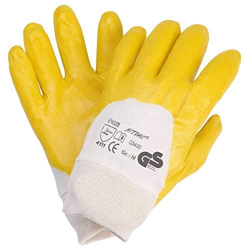 12 Paar NITRAS 03400 Nitrilhandschuhe gelb mit Strickbund Arbeitshandschuhe Gr.: 10