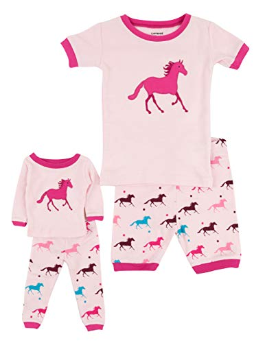 Leveret Shorts Matching Doll & Girl Horse 2 Piece Pajama Set 100% Cotton Size 8 Years