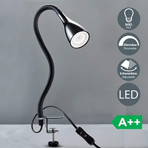 B.K.Licht Flexo escritorio LED negro 5W, Lámpara con pinza GU10, Iluminación regulable...