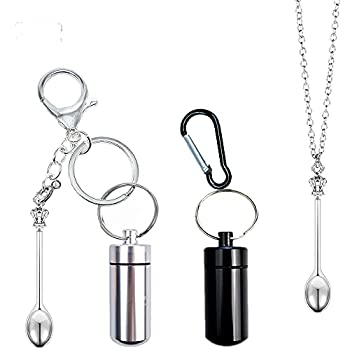 OMO Keychain bottle with spoon [external spoon] Carabiner bottle with spoon [built-in telescopic spoon] Mini necklace spoon