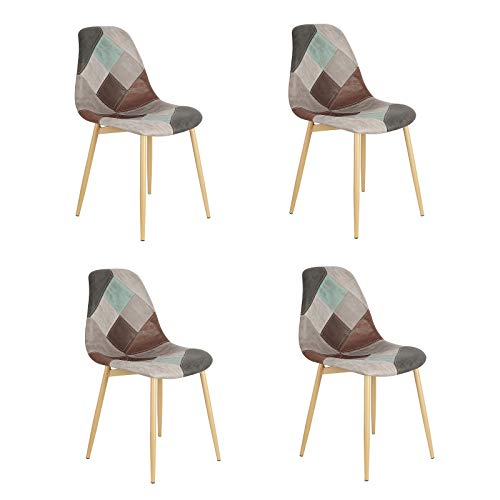 Un juego de 4 sillas de comedor de estilo moderno nórdico de lino y tejido de retazos con patas de madera de haya para comedor, salón, cafetería, salón y otras ocasiones (gris)