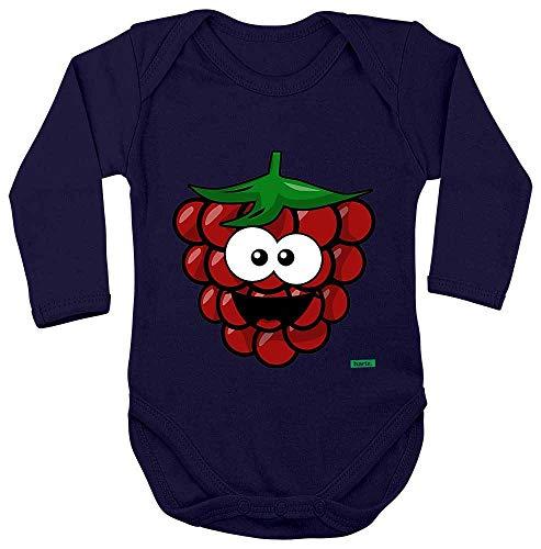 Hariz - Body de manga larga para bebé, diseño de frambuesa sonriendo, frutas, verano, incluye tarjeta de regalo azul Azul Oscuro Talla:74-80
