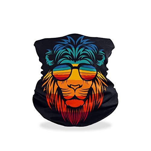 LIUBT - Máscara de protección contra el polvo para deportes al aire libre, para la cabeza, para motocicleta, con rayos UV, con cabeza de león divertido y con gafas para la cara, bufandas para mujeres y hombres