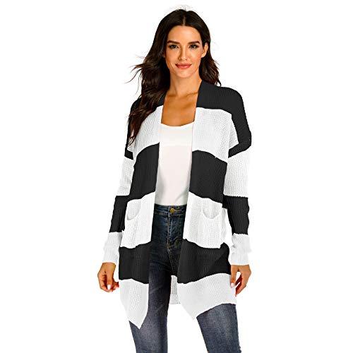 SLYZ Herbst Und Winter Frauen Gemischte Farbe Nähte Farbstreifen Gewebte Strickjacke Große Tasche Pullover Frauen Jacke