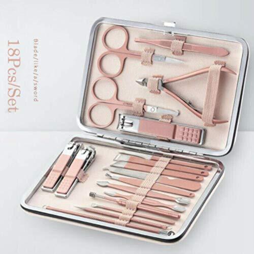 Huien 18Pcs Professionele Manicure Grooming Tool Kits Ear Pick Nagelknipper set, Roze