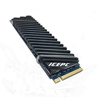 icepc M.2 PCI-E NVME 2280 SSD Graphene Coating Copper Heatsink,High Performance SSD Radiator with Thermal Pad for Laptop PC 2280 NGFF Solid State Disk Cooler(70x20x4mm)