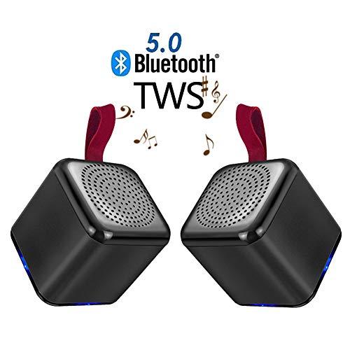 Speaker-EJOYDUTY 2-pack Top Bluetooth TWS Surround stereo luidspreker, mini draadloze muziekspeler luidspreker, voor mobiele telefoon, laptop, tablet, zwart