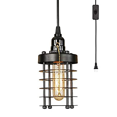 EFINEHOME Industrial Vintage Cylinder Shape Cage Pendant Light Fixture Rustic Plug in Hanging Swag Light, 15 feet Black Fabric Textile Cable, The Toggle Switch, Pull Chain Switch Lamp Socket Holder