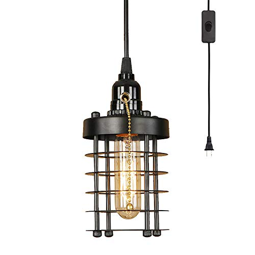 EFINEHOME 1 Light Hanging Swag Lamp with Plug in 15 Ft Cord On/Off Switch with Pull Chain- Black Industrial Vintage Cage Pendant Light (Lampshade Cylinder)